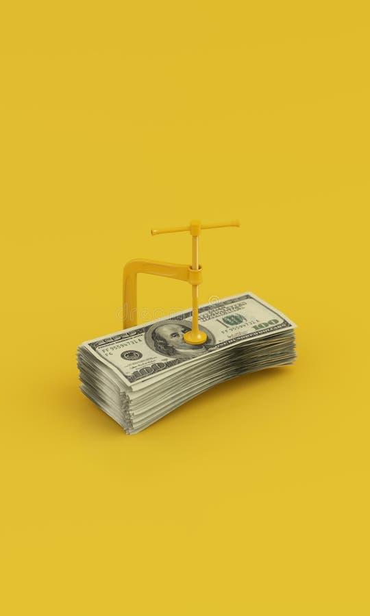 有金钱的Minimalistic黄色钳位在干净的黄色背景 3d回报 图库摄影