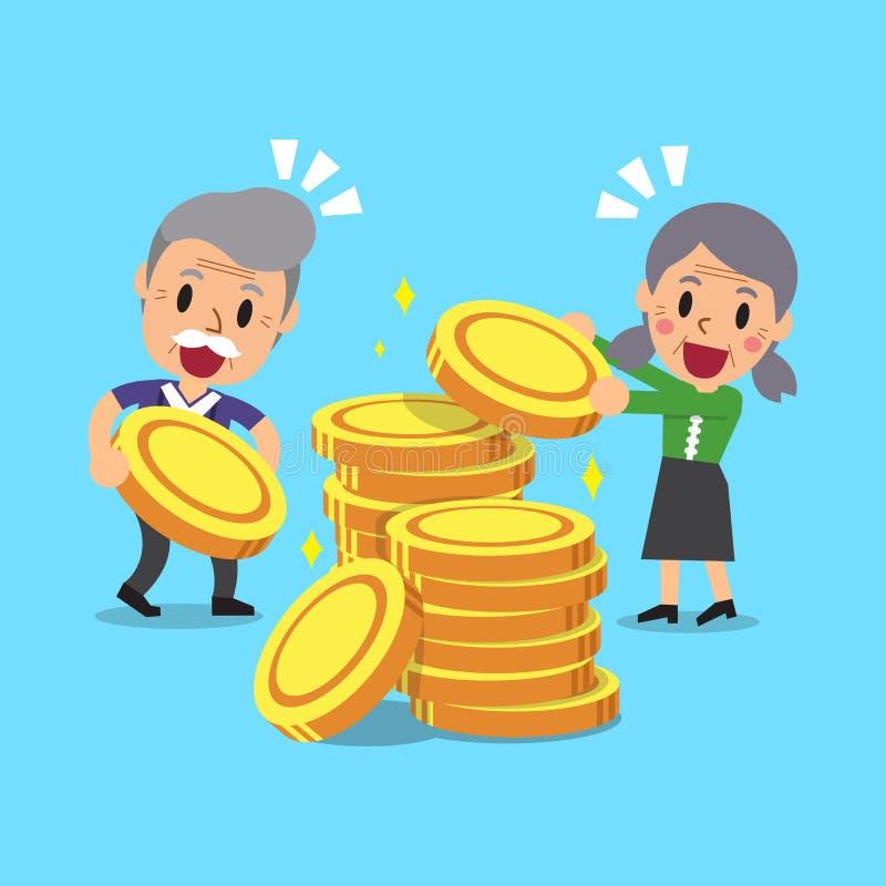 有金钱硬币的动画片资深人民 皇族释放例证