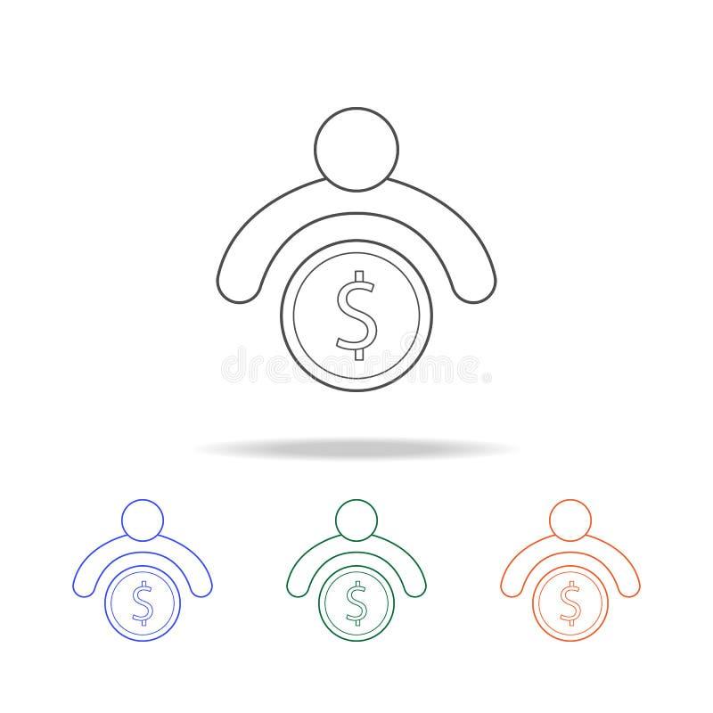 有金钱象的一个人 银行业务的元素在多色的象的 优质质量图形设计象 网站的简单的象, 皇族释放例证