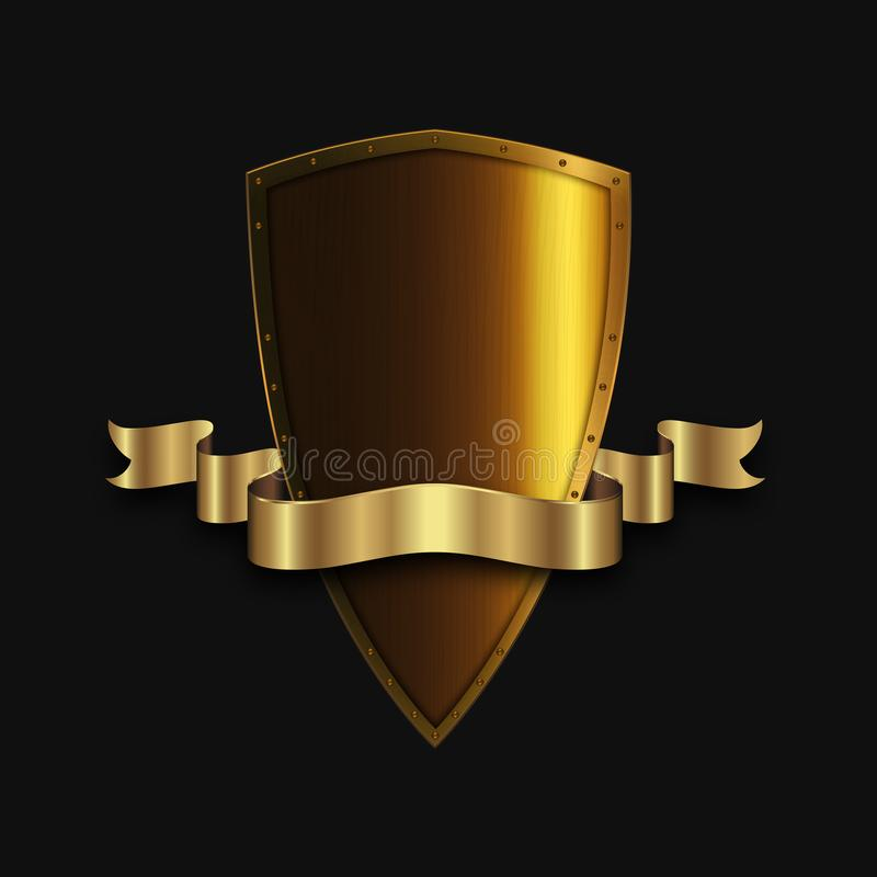 有金黄丝带的金黄古色古香的盾 库存例证