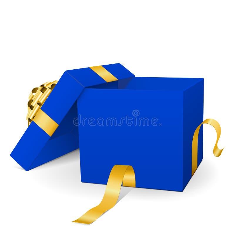 有金黄包裹丝带的空的蓝色传染媒介礼物盒 皇族释放例证