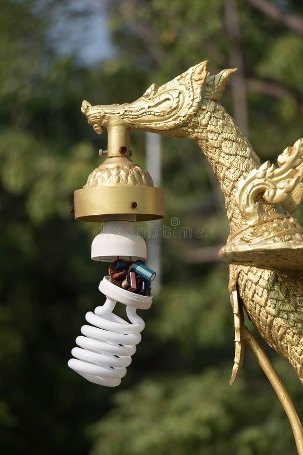 有金黄天鹅的装饰灯 免版税图库摄影