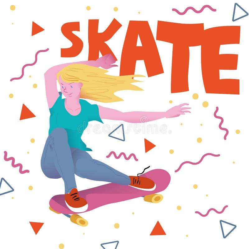 有金黄头发的Beautyful女孩在桃红色滑板 运动员溜冰板者的海报有文本`冰鞋`的 也corel凹道例证向量 库存例证