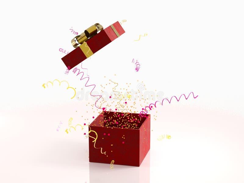 有金黄弓的红色礼物盒在与装饰的白色背景和闪闪发光集会五彩纸屑,飘带 欢乐或 免版税库存照片