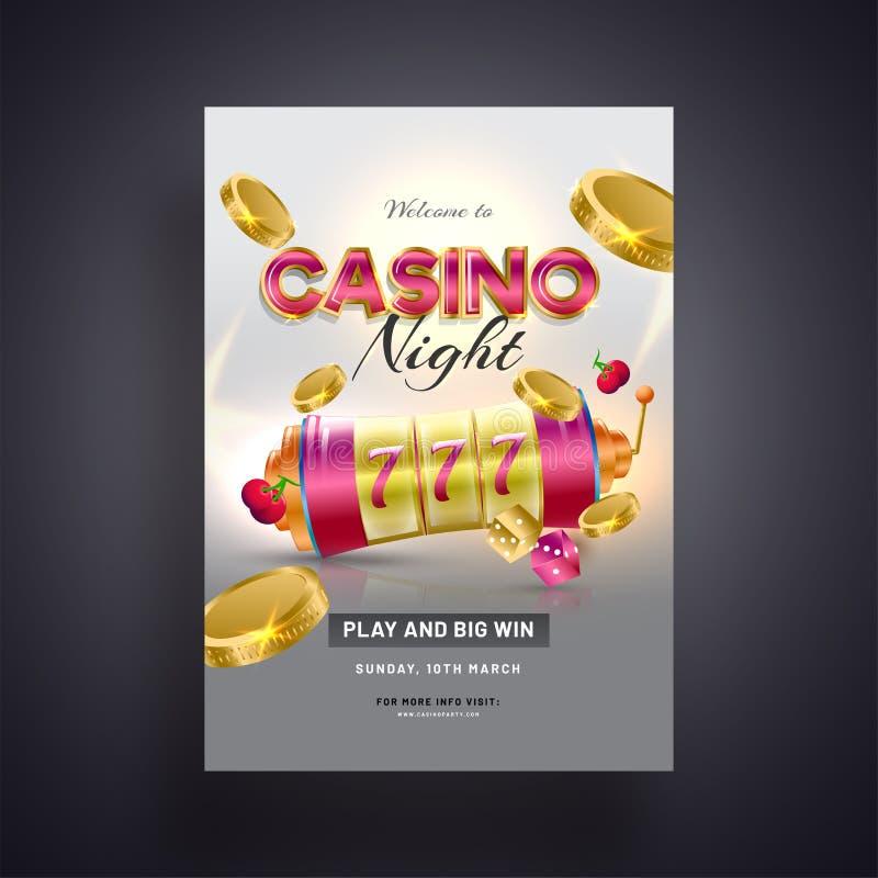 有金黄硬币例证的现实老虎机在灰色背景为赌博娱乐场夜 皇族释放例证