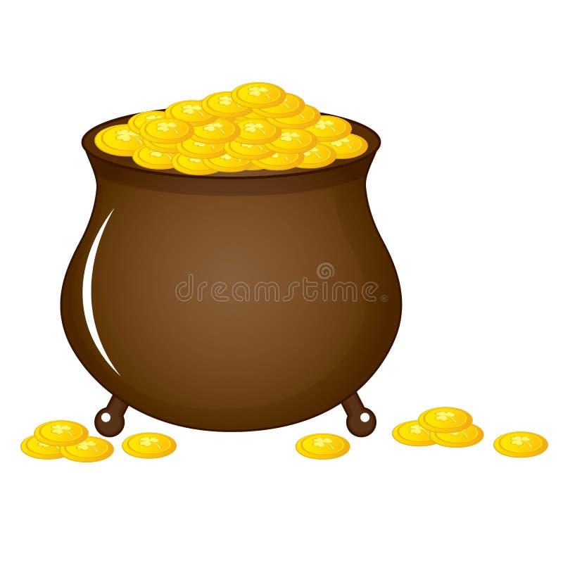 有金黄硬币的传染媒介爱尔兰罐 传染媒介圣帕特里克的天 向量例证