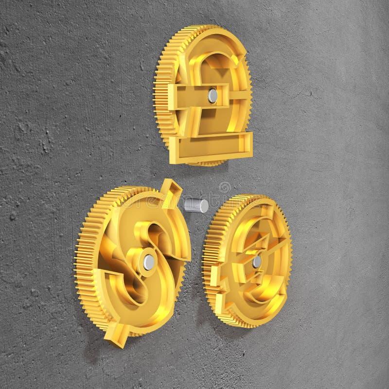 有金黄美元的符号、磅和欧洲标志的齿轮 库存照片