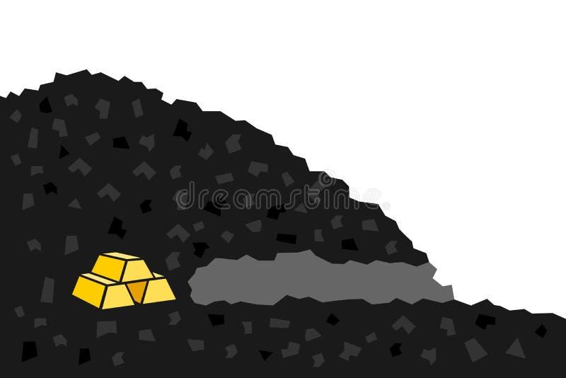 有金黄贵重金属的金矿 向量例证