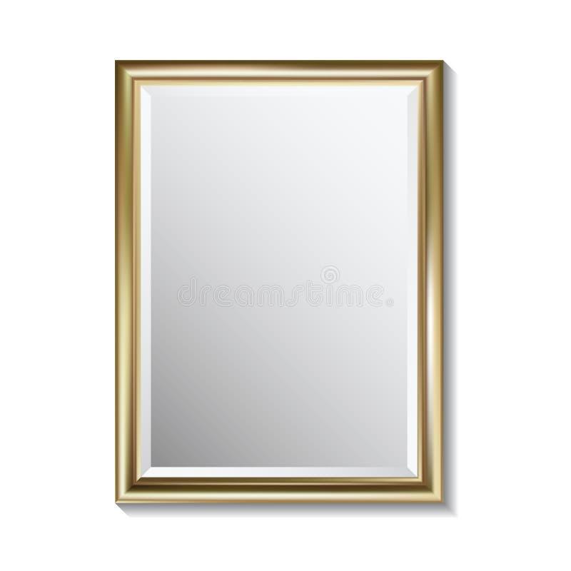 有金黄长方形框架的镜子 向量例证