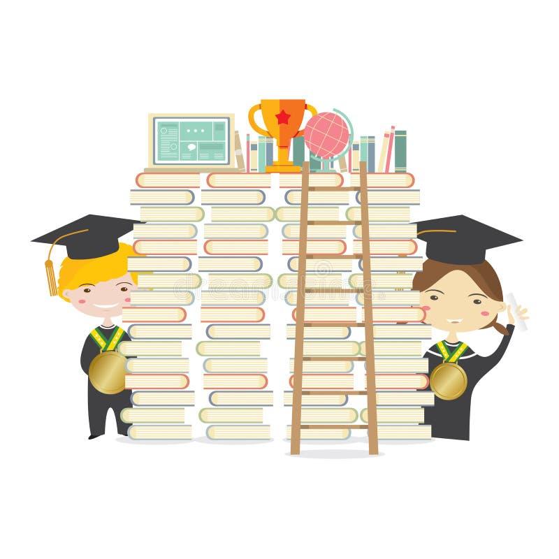 有金黄奖牌和梯子的愉快的学生代表教育概念 库存例证