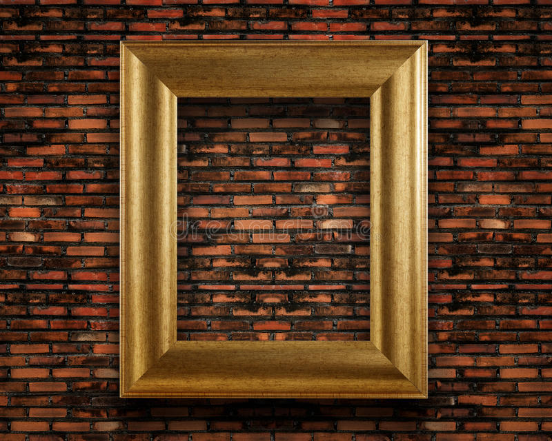有金黄框架的老葡萄酒砖墙 库存照片