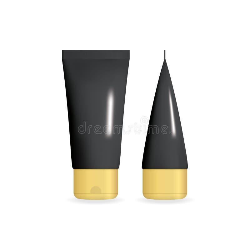 有金黄盖帽的黑现实奶油色管 用不同的投射设置的化妆模板 查出的向量例证 库存例证