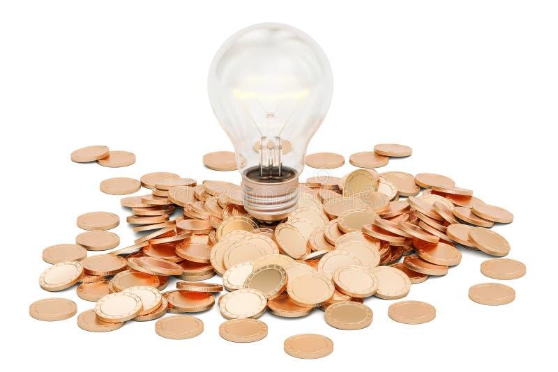 有金黄硬币堆的, 3D电灯泡翻译 库存例证