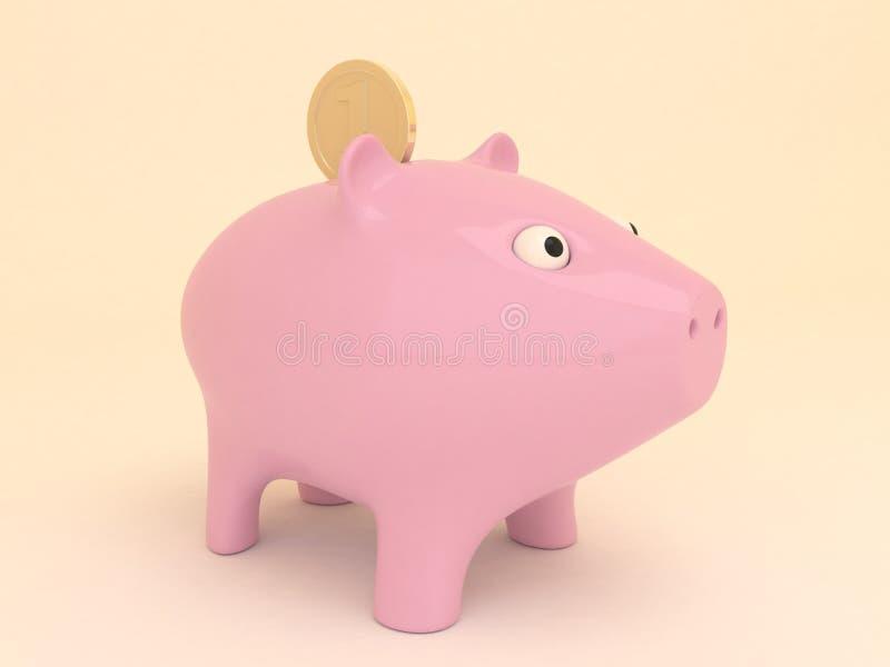 有金黄硬币的桃红色存钱罐 免版税库存照片