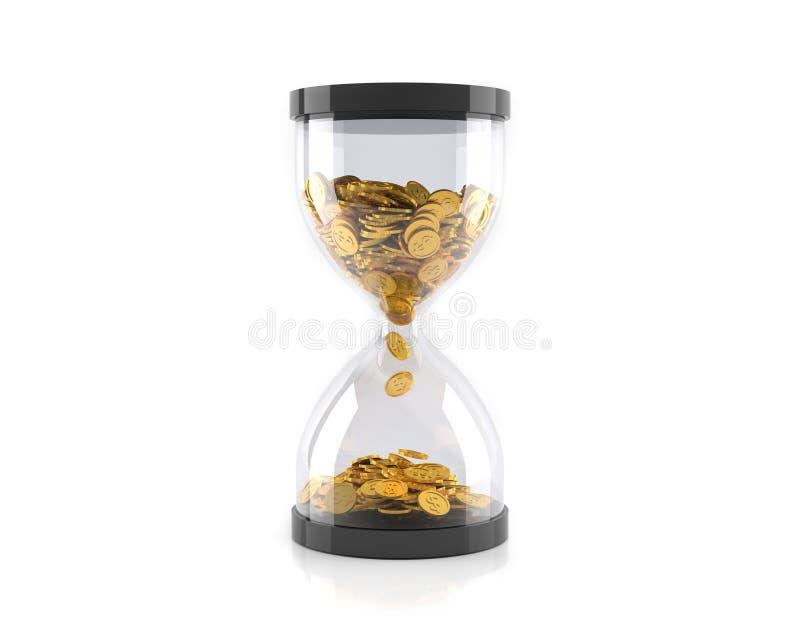 有金黄硬币的滴漏,时间是金钱概念 3d例证 向量例证