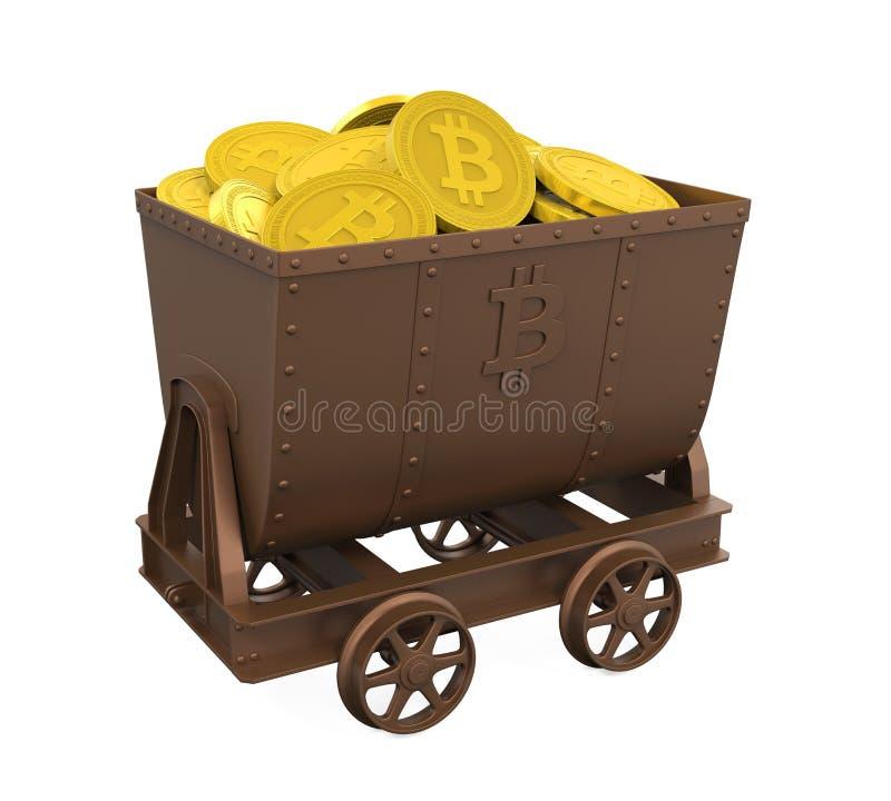 有金黄Bitcoins的采矿推车隔绝了 向量例证