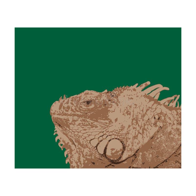 有钉的鬣鳞蜥头在黑暗的背景 免版税库存照片
