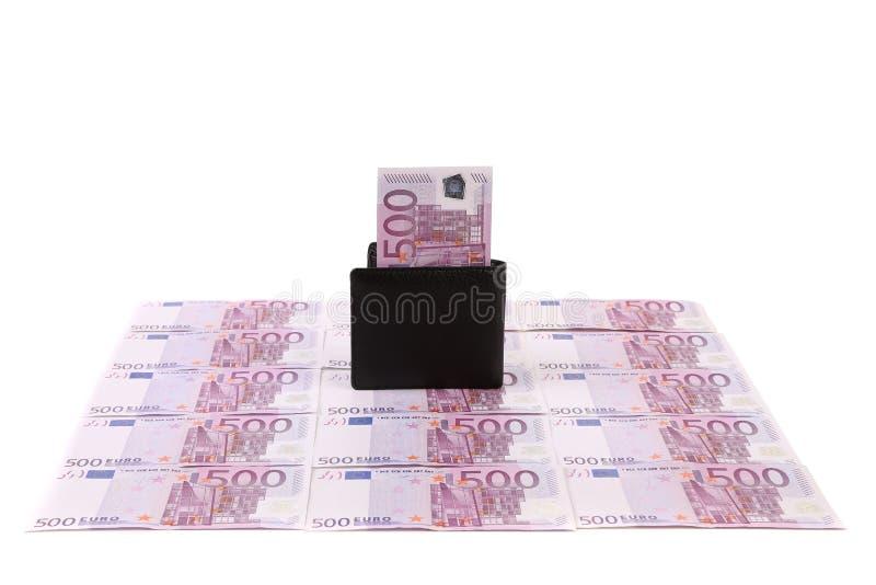 有钞票的钱包在欧洲票据。 库存照片