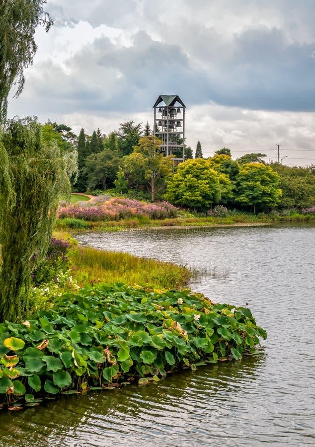 有钟琴钟楼的海岛在芝加哥植物园,格伦克,美国 库存照片