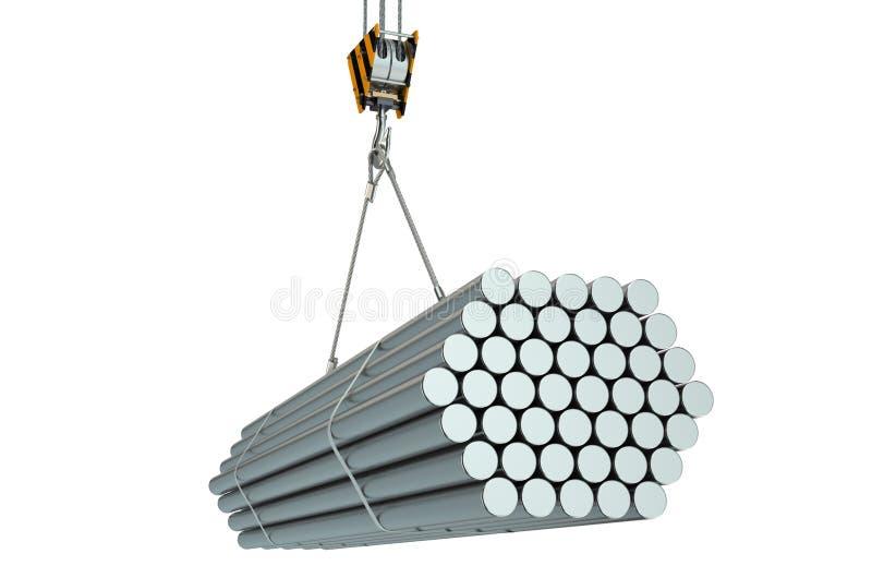 有钢圆杆的起重机勾子 皇族释放例证
