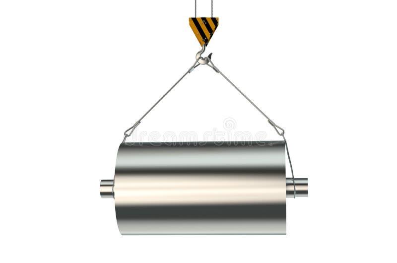 有钢工程学产品的起重机勾子 库存例证