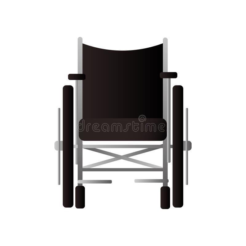 有钢轮子的纺织材料轮椅前面人的 皇族释放例证