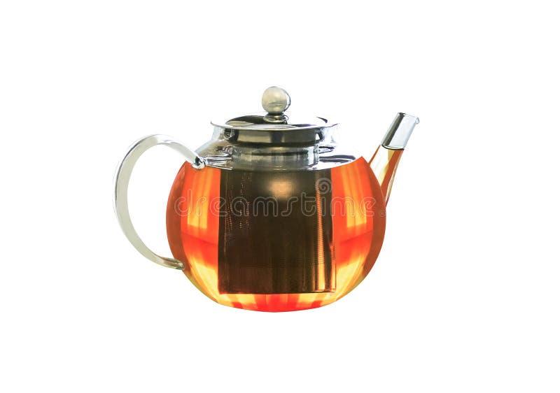 有钢infuser的玻璃透明茶壶 免版税库存照片