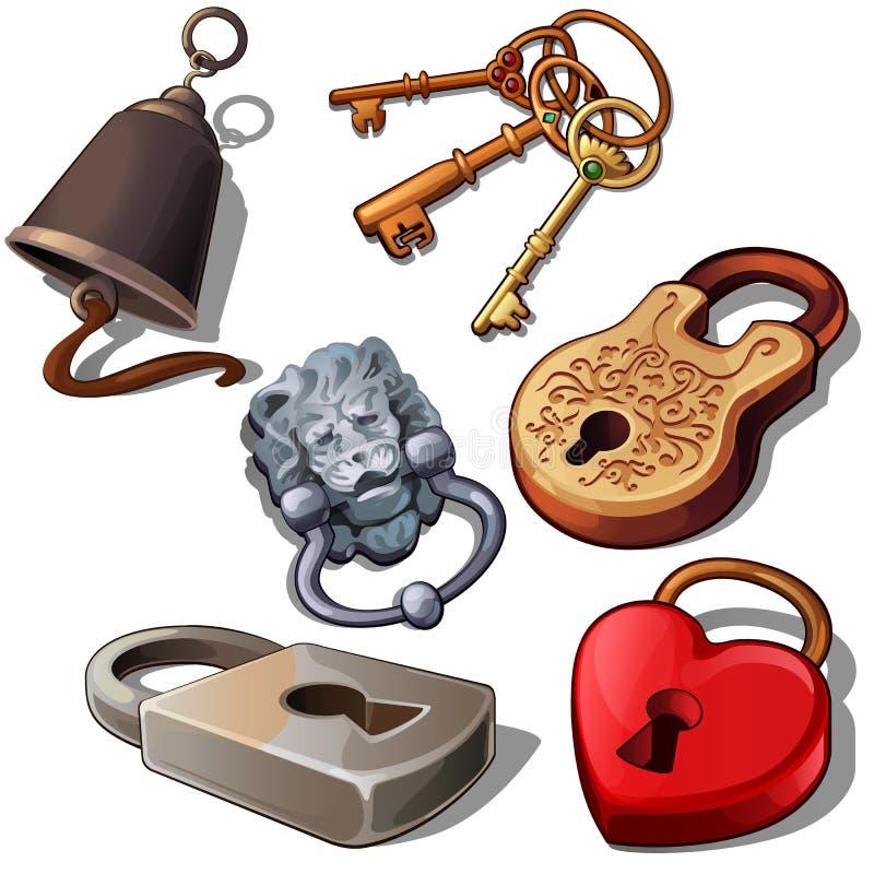 有钥匙和门铃的古老,现代和浪漫挂锁 在心脏、狮子头和花饰形状的锁  库存例证