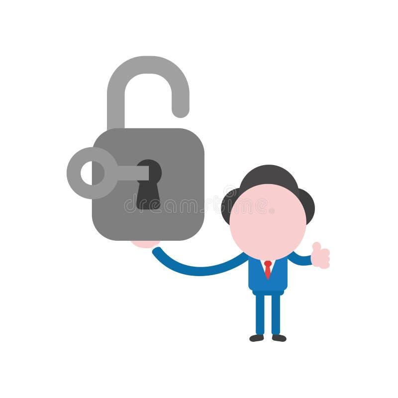 有钥匙和s的传染媒介商人字符藏品开放挂锁 皇族释放例证