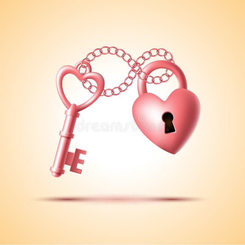 有钥匙的心脏锁 库存例证
