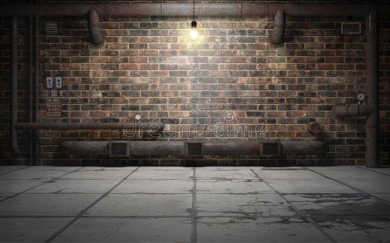 有铁锈管子的老难看的东西地下室室 3d翻译 皇族释放例证