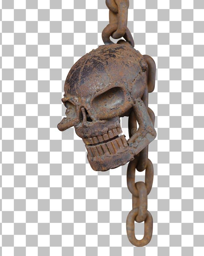 有铁锈链子孤立的生锈的头骨与裁减路线 库存照片