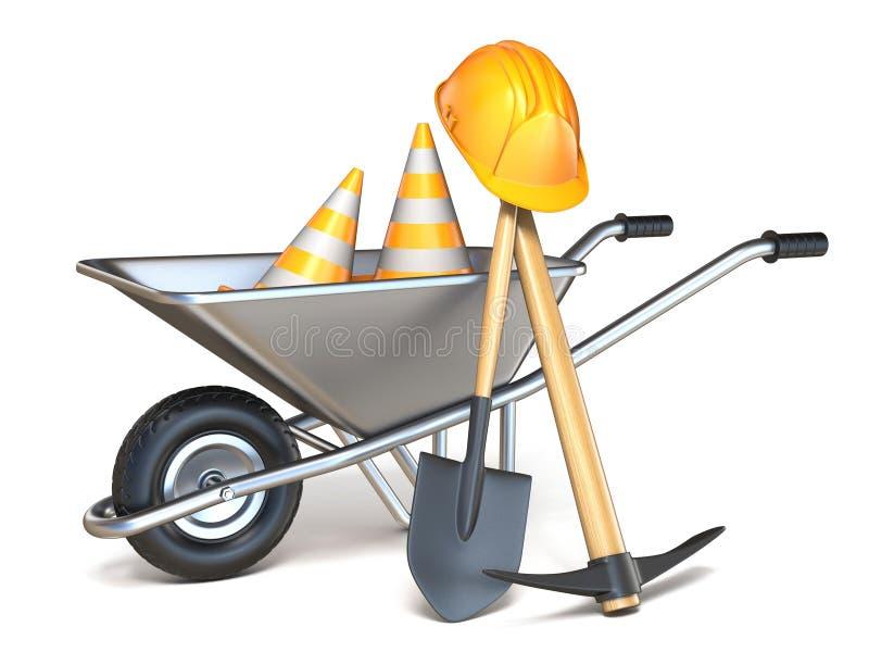 有铁锹、镐、交通锥体和安全帽的3D独轮车 库存例证