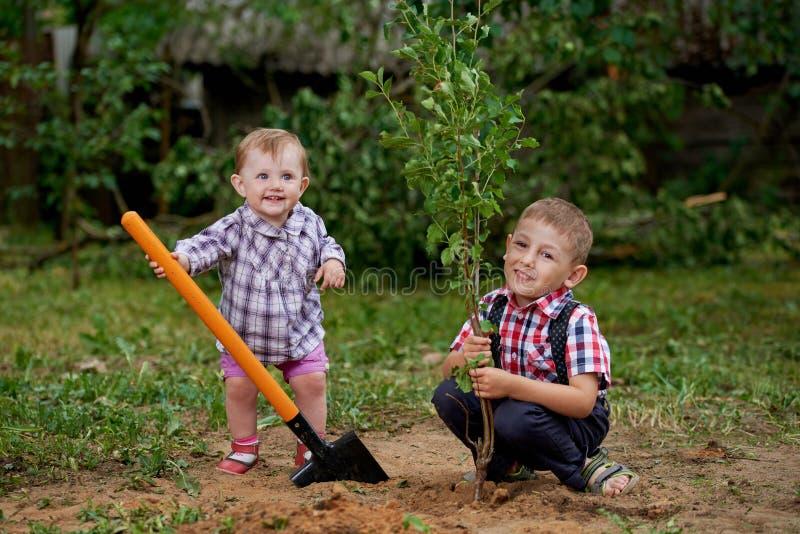 有铁锹的滑稽的男孩在庭院里 免版税库存图片