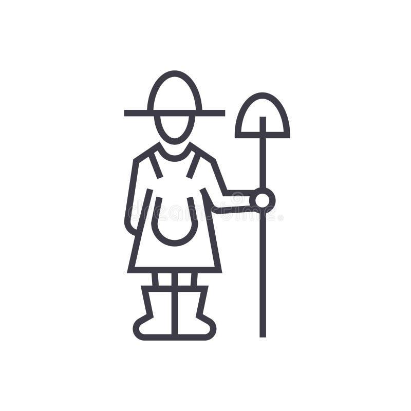 农夫简笔画_有铁锹线的象,标志,标志,在被隔绝的背景的传染媒介女性农夫