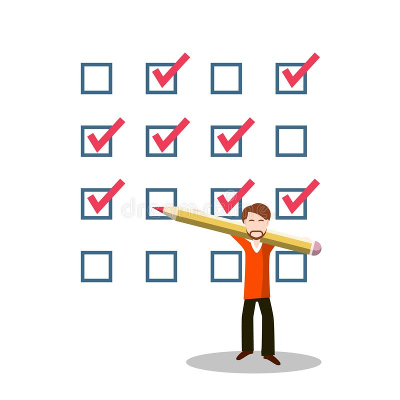 有铅笔和查询表的商人 挑选符号 清单象 库存例证