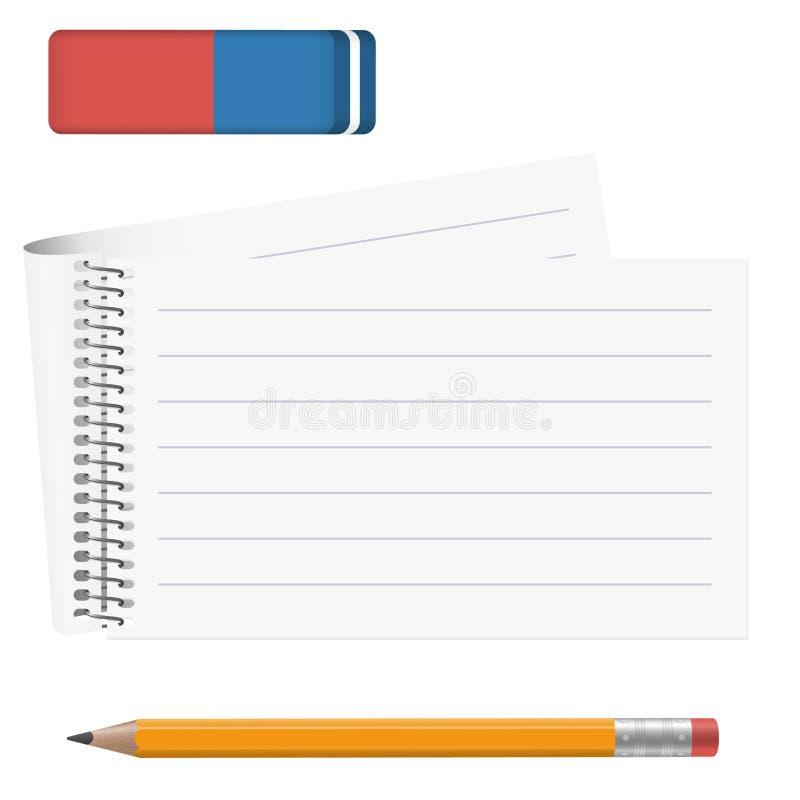 有铅笔和橡皮擦的纸垫 库存例证