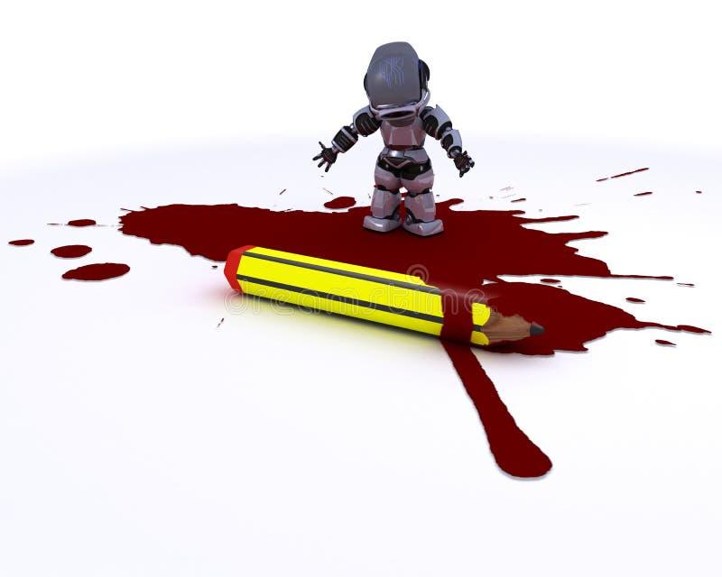 有铅笔和血液的漫画家机器人 库存例证