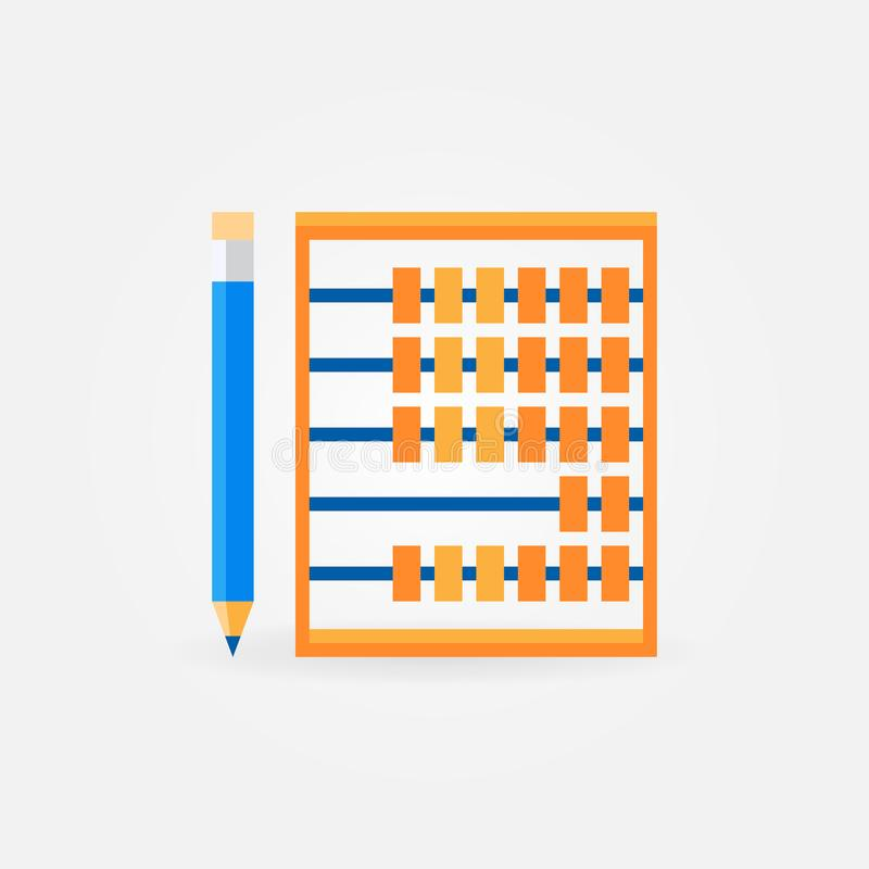 有铅笔平的传染媒介象或标志的算盘 皇族释放例证
