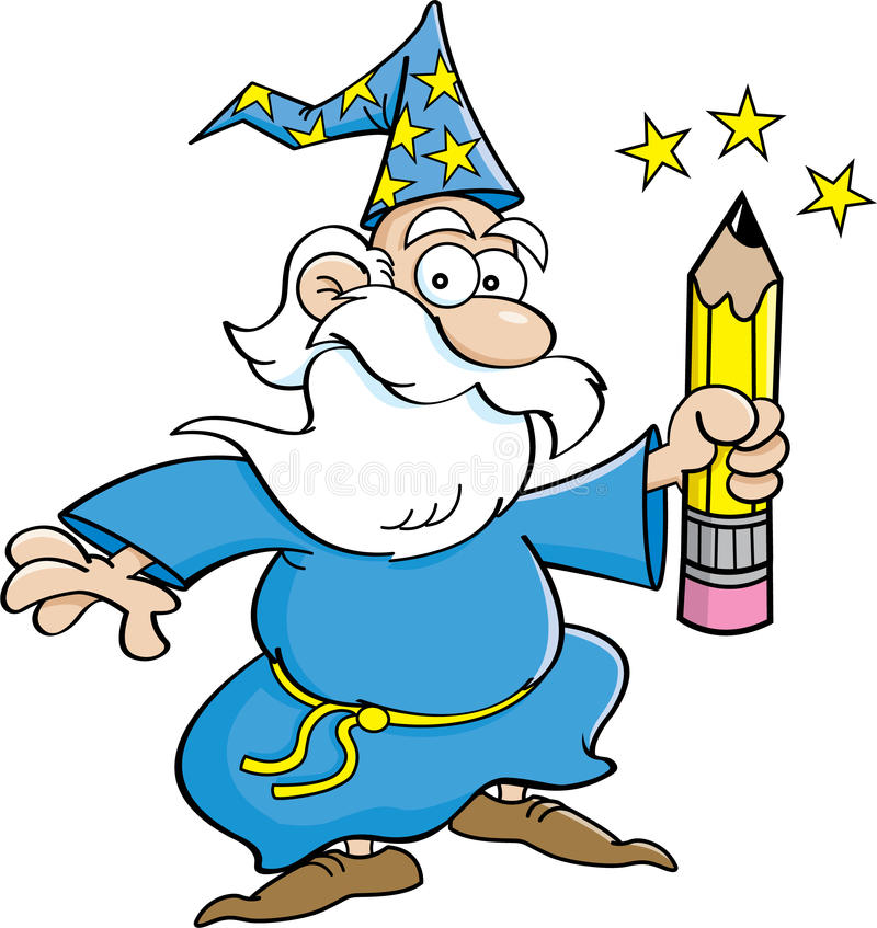 有铅笔的动画片巫术师 库存例证