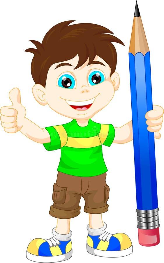 有铅笔的动画片男孩 皇族释放例证