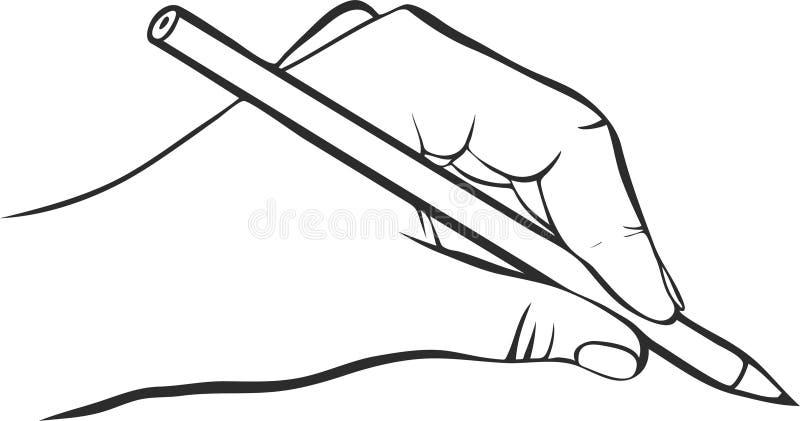 有铅笔的文字手 库存例证
