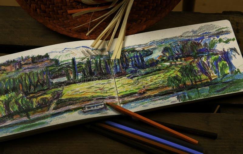 有铅笔的笔记本 图库摄影