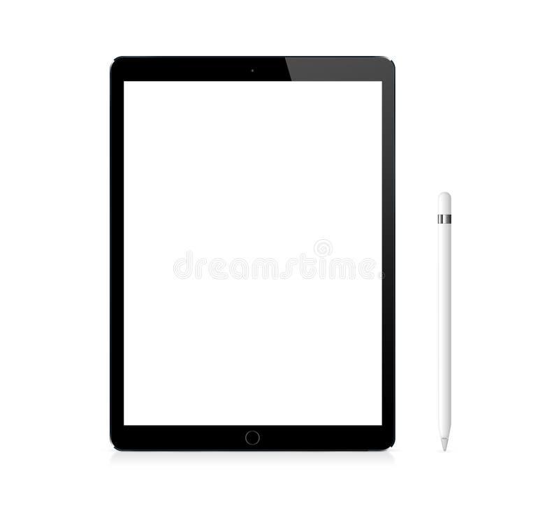 黑有铅笔的苹果计算机iPad赞成携带式装置 免版税库存照片