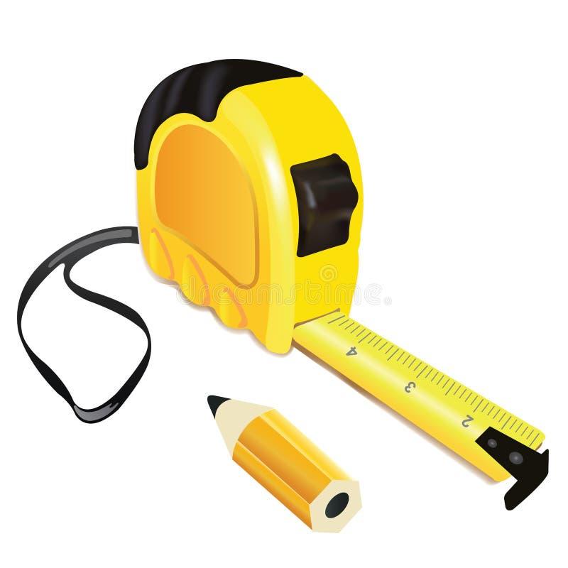 有铅笔的黄色轮盘赌措施大厦工具 库存例证