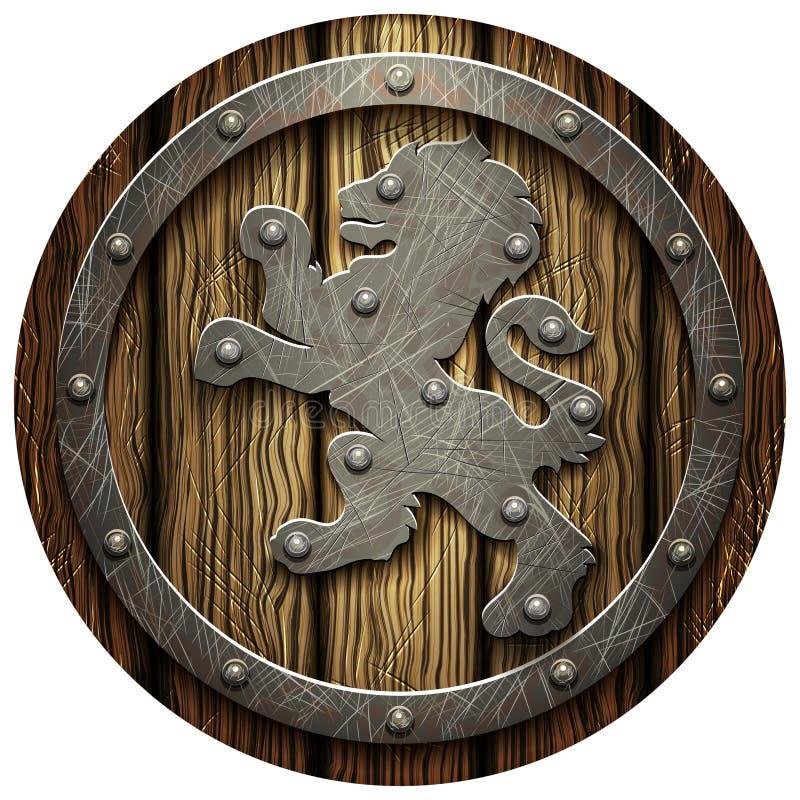 有铆钉和金属列弗的圆的橡木盾 皇族释放例证