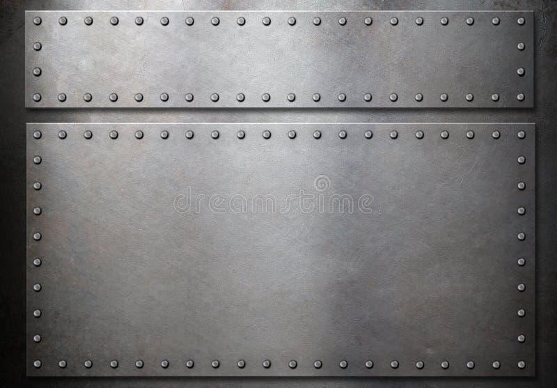 有铆钉的两块钢板在金属背景 免版税库存照片