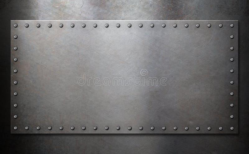 有铆钉的钢板在金属背景 图库摄影