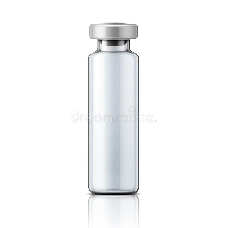 有铝盖帽的玻璃医疗细颈瓶 库存例证