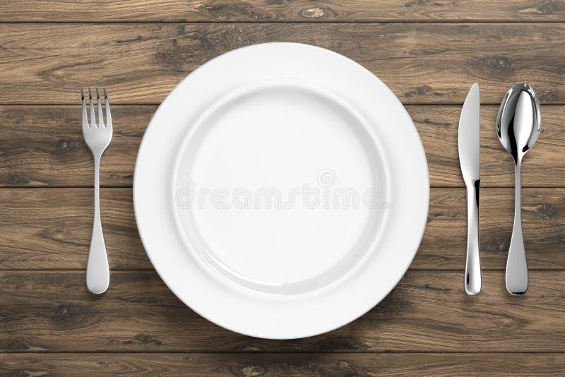 有银色利器的-例证白色瓷餐具 库存例证